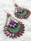 Pink And Green Combination Afghani Earrings