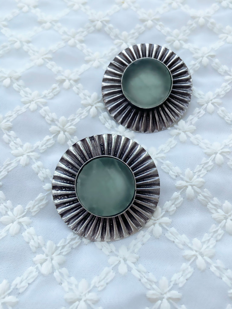 Silver And Green Natural Stones Studs