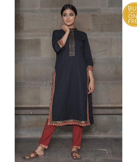 Black Thread Work Cotton Flax Long Kurta