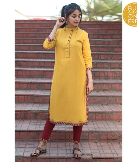 Mustard Yellow Thread Work Cotton Flax Long Kurta
