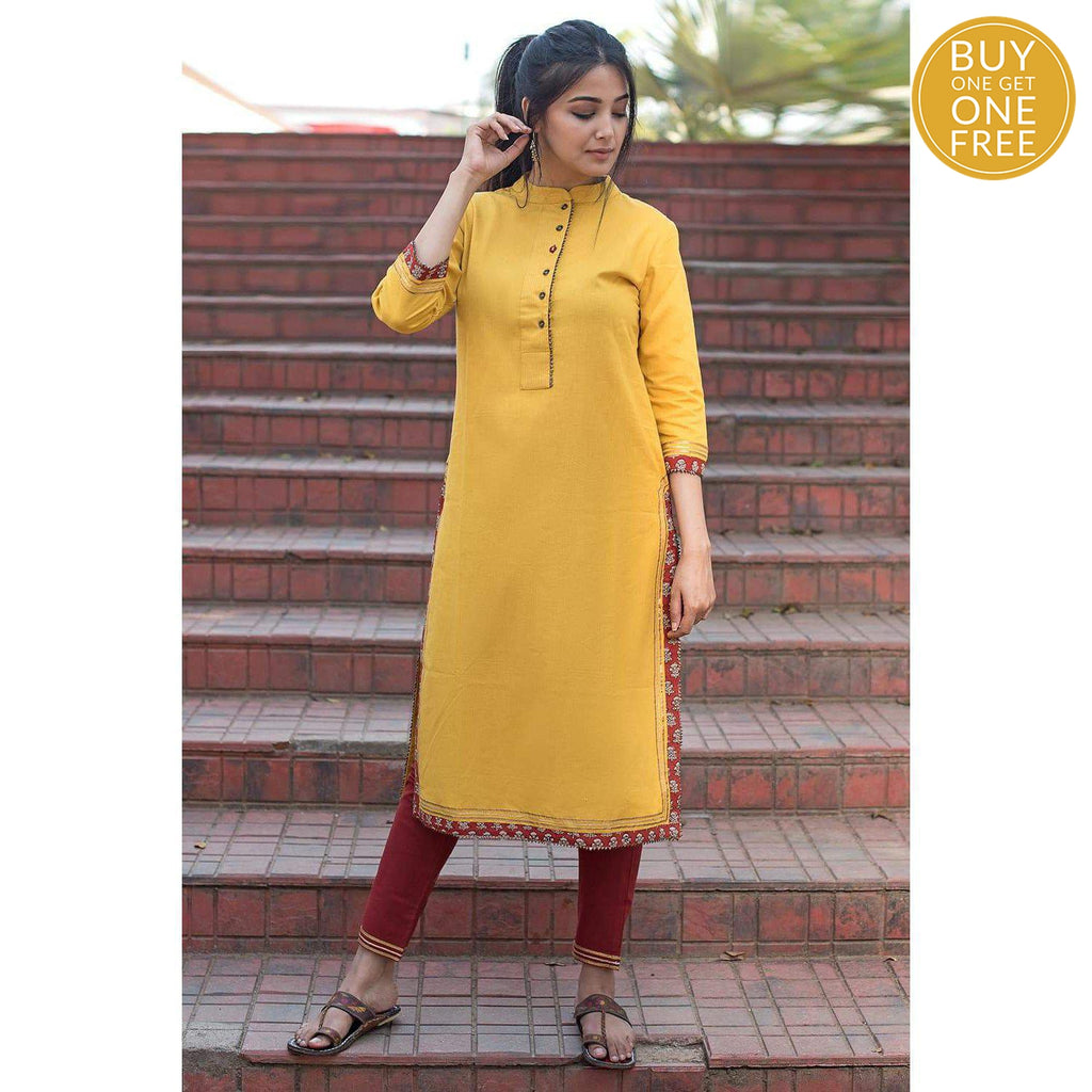 Yellow and Red Thread Work Cotton Flax Kurta Pants Set