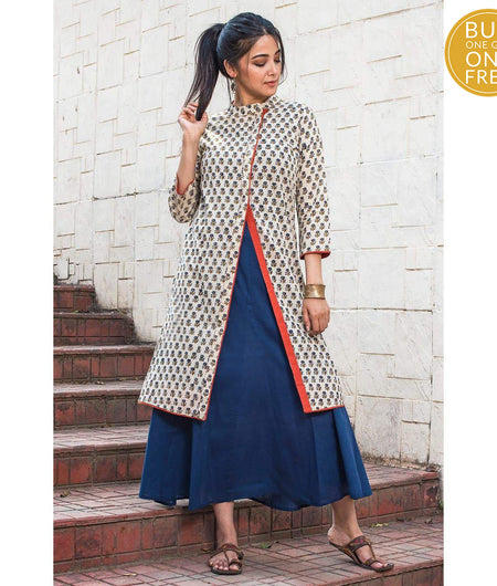 Beige Hand Block Cotton Layered Kurta and Blue Inner