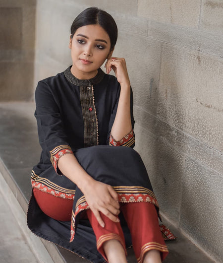 Black and Red Thread Work Cotton Flax Kurta Pants Set