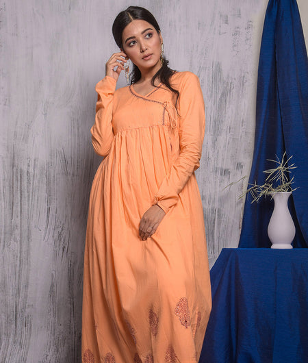 Peach Hand Block Kurta