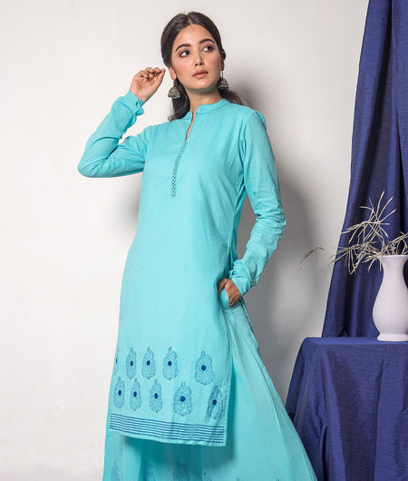Blue Hand Block Kurta