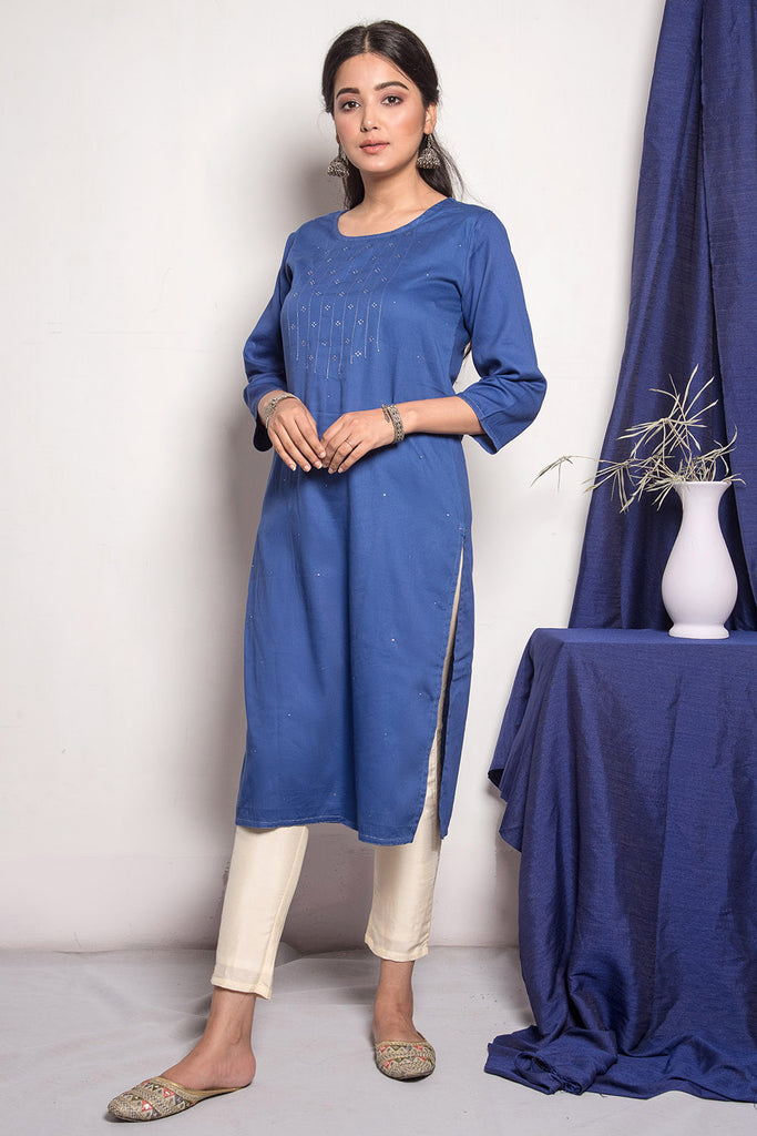 Dark Blue Mukaish Kurta