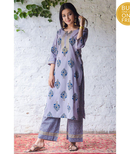 Grey Hand Block Cambric Kurta Set with Blue Floral Butta