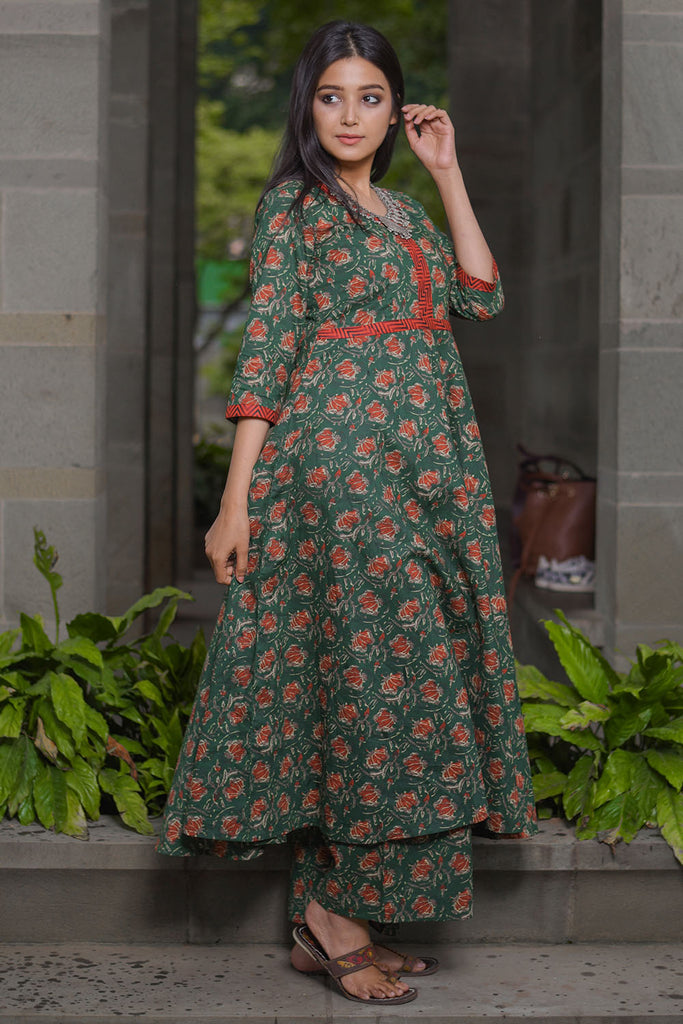 Green Hand Block Cambric Kurta Set with Red Floral Print