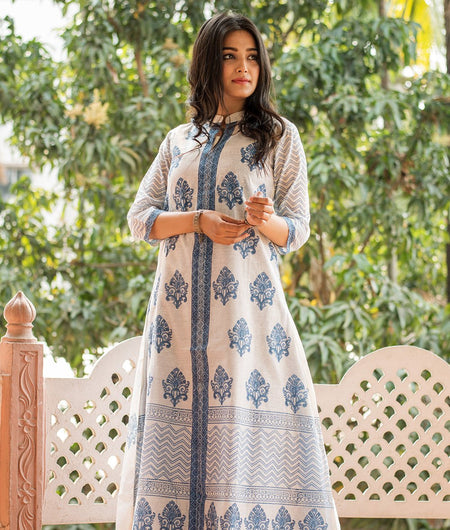 White Hand Block Chanderi Layering Kurta