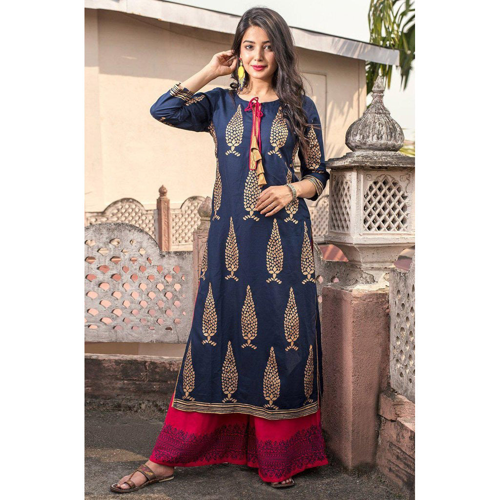 Navy Blue Hand Block Rayon Prints Kurta Pants Set