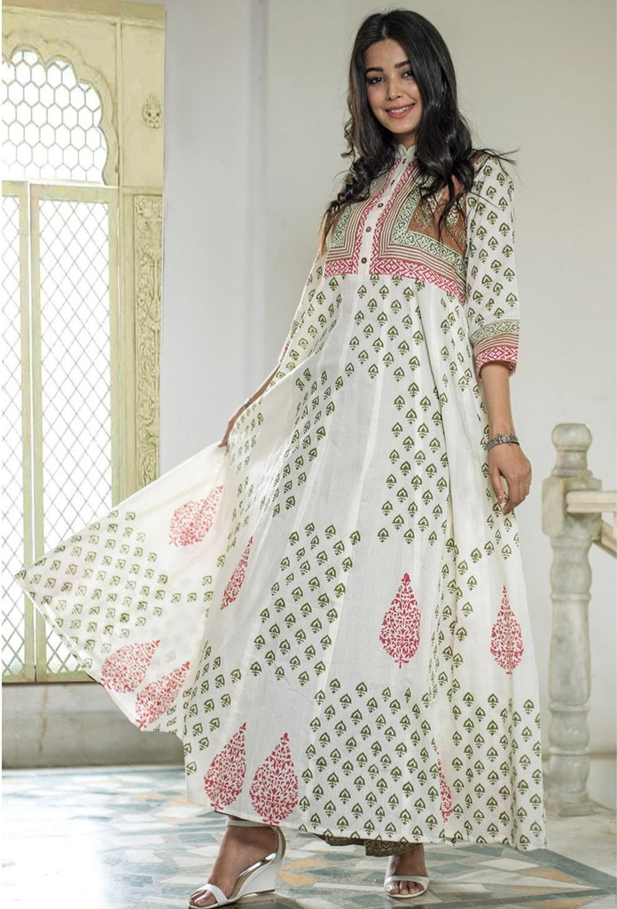 Off White Hand Block Cotton Longkurta Kurta