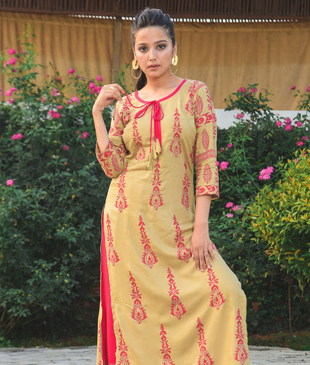 Beige and pink Hand Block Rayon Floral Kurta and Pant