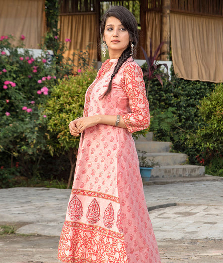 Light pink Hand Block Chanderi Layering Kurta