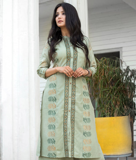 Green Hand Block Cotton Long Kurta Kurta and Pant