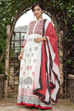 White and red Hand Block Cotton Long Kurta and dupatta