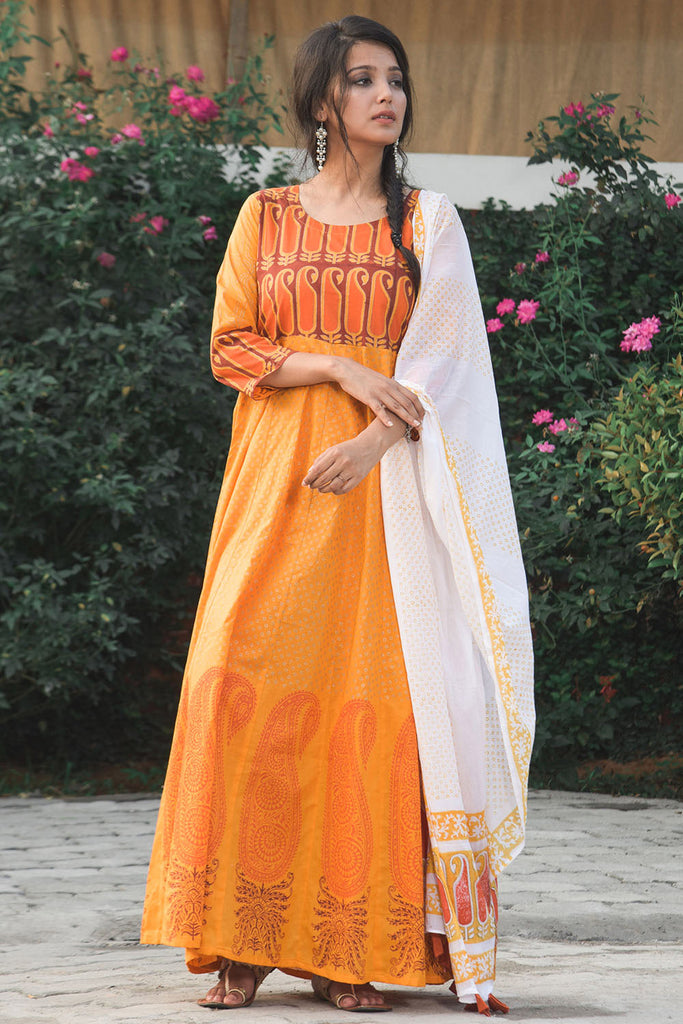 White and yellow Hand Block Cotton Long Kurta and dupatta