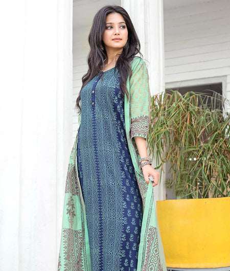 Dark green Hand Block Chanderi Layering Kurta