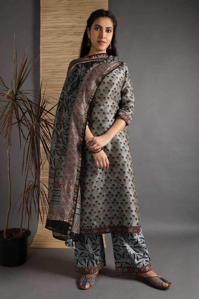 Unstitched Chanderi Greystone Hand Block Dress Material With Dupatta