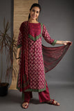 Unstitched Cotton Pink Hand Block Dress Material With Dupatta