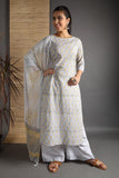 Unstitched Cotton Greyish White Hand Block Dress Material With Dupatta