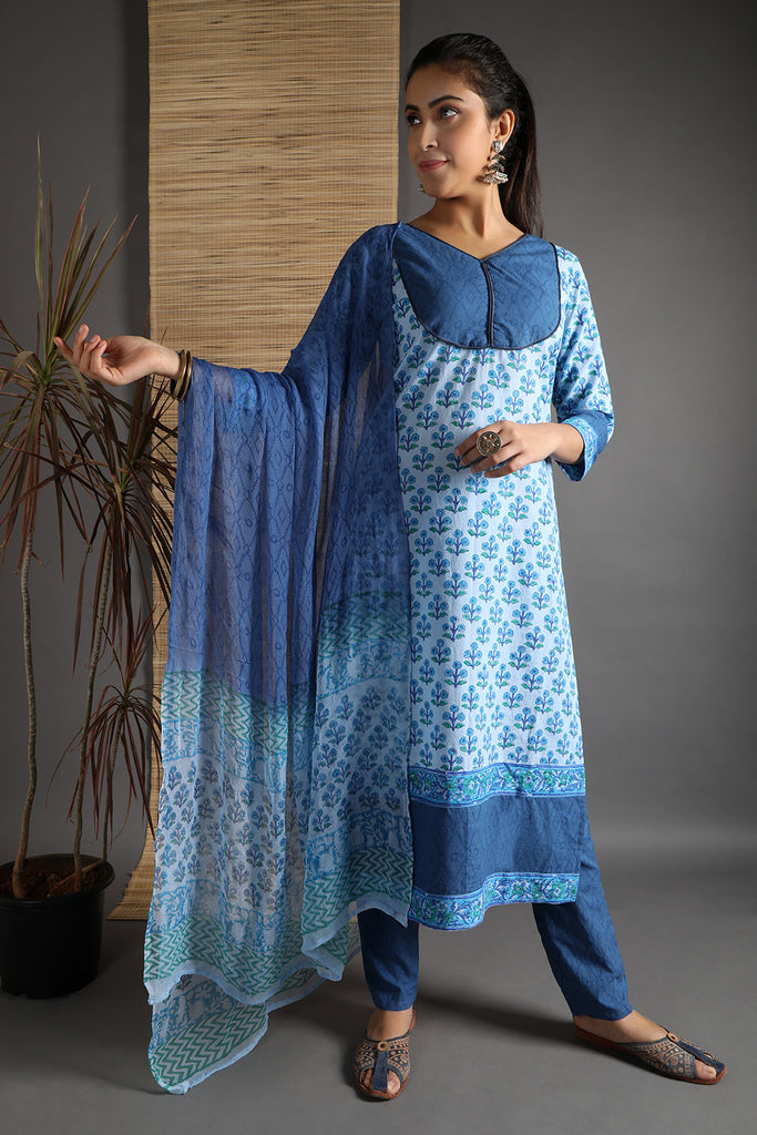 Unstitched Cotton Blue Hand Block Dress Material With Dupatta
