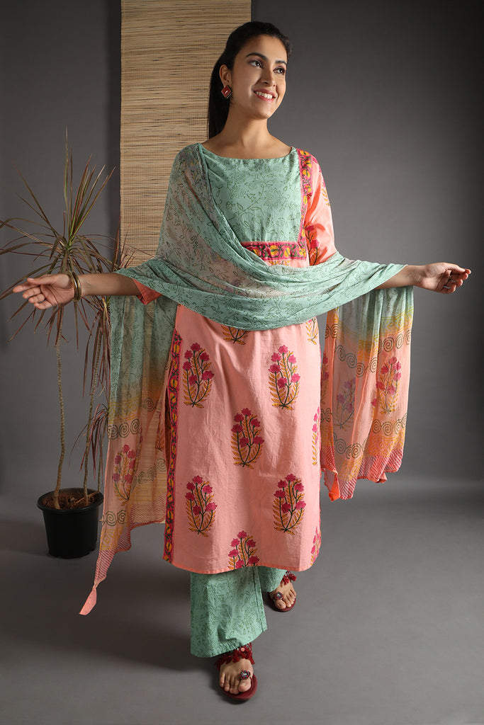 Unstitched Cotton Salmon Pink Hand Block Dress Material With Dupatta