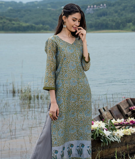 Hand Block Grey Modal Chanderi Kurta