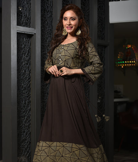 Hand Block Brown Rayon Kurta Set