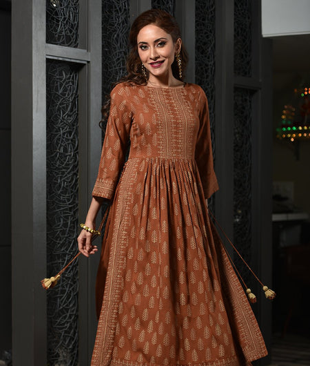 Hand Block Brown Rayon Flared Kurta Set
