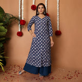 Hand Block Dark Blue Cotton Kurta Palazzo Set
