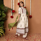 Hand Block White Cambirc Kurta Palazzo Set With Dupatta