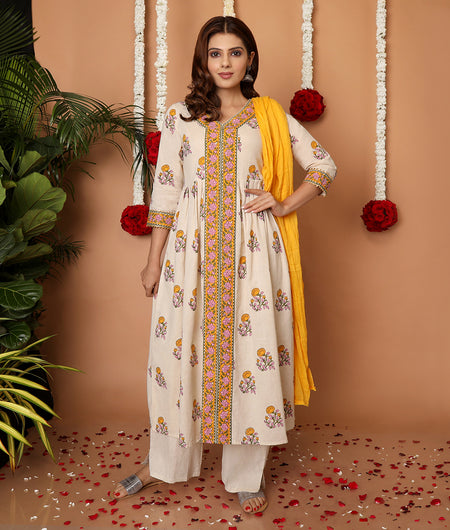 Hand Block Off White Flex Kurta Palazzo Set With Dupatta