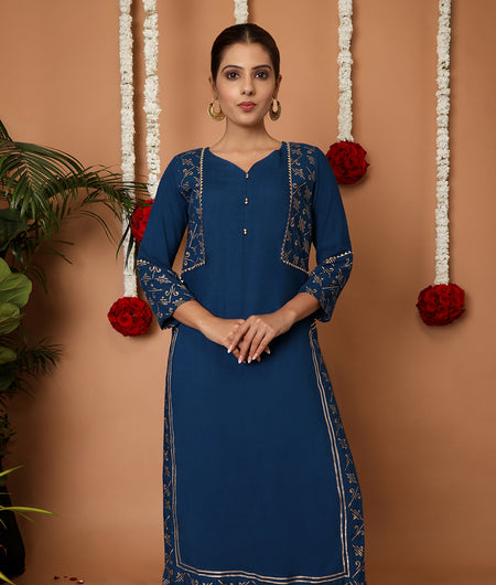 Hand Block Sea Blue Rayon Kurta Set