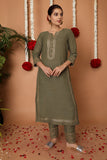 Hand Block Green Rayon Kurta Set