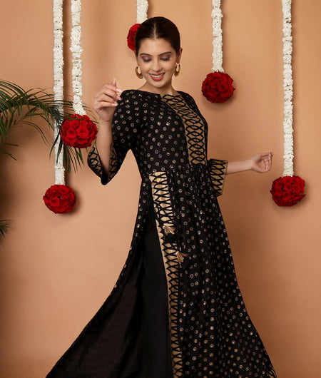 Hand Block Black Rayon Kurta Set