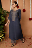 Hand Block Blue Rayon Kurta Set