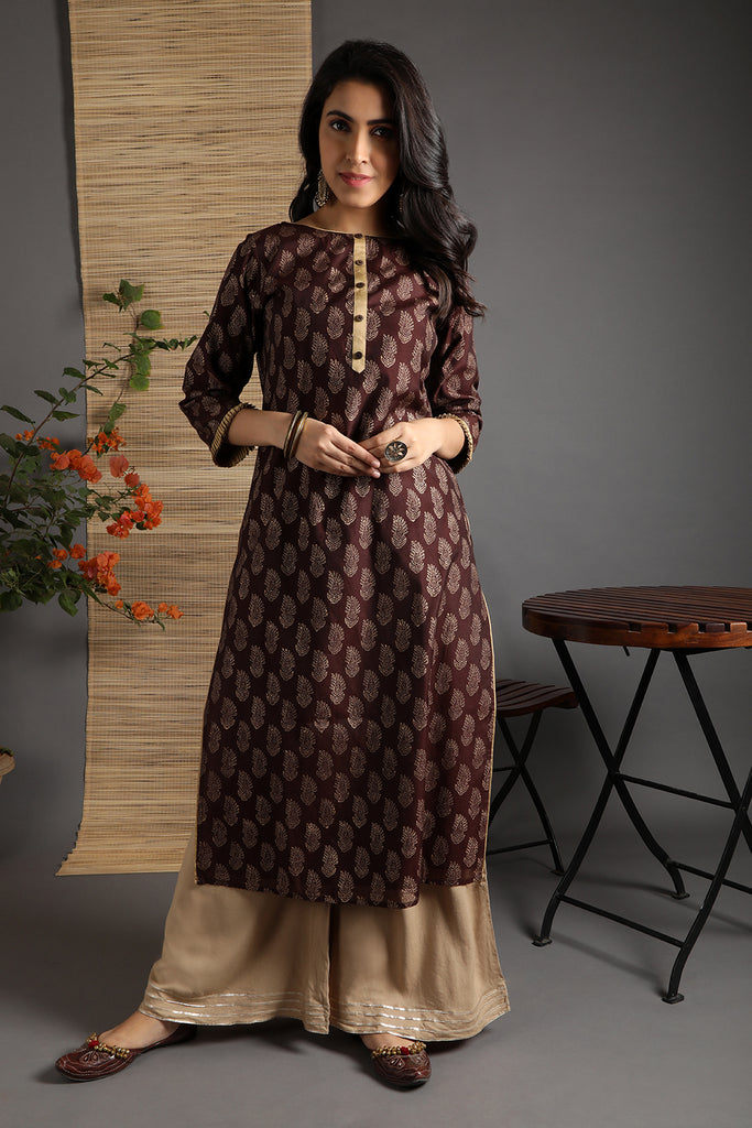 Hand Block Brown Chanderi Kurta Palazzo Set