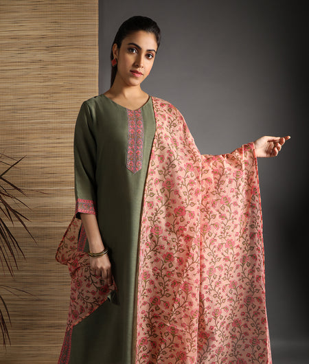 Hand Block Green Rayon Kurta Palazzo and Dupatta Set