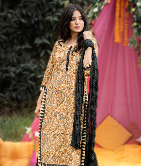 Hand Block Yellow Cambric Kurta Pant & Cotton Dupatta Set