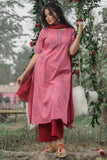 Hand Block Cherry Red Cambric Kurta Pant With Cotton Dupatta Set