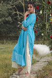 Hand Block Turquoise And Off White Cambric Kurta Palazzo Set