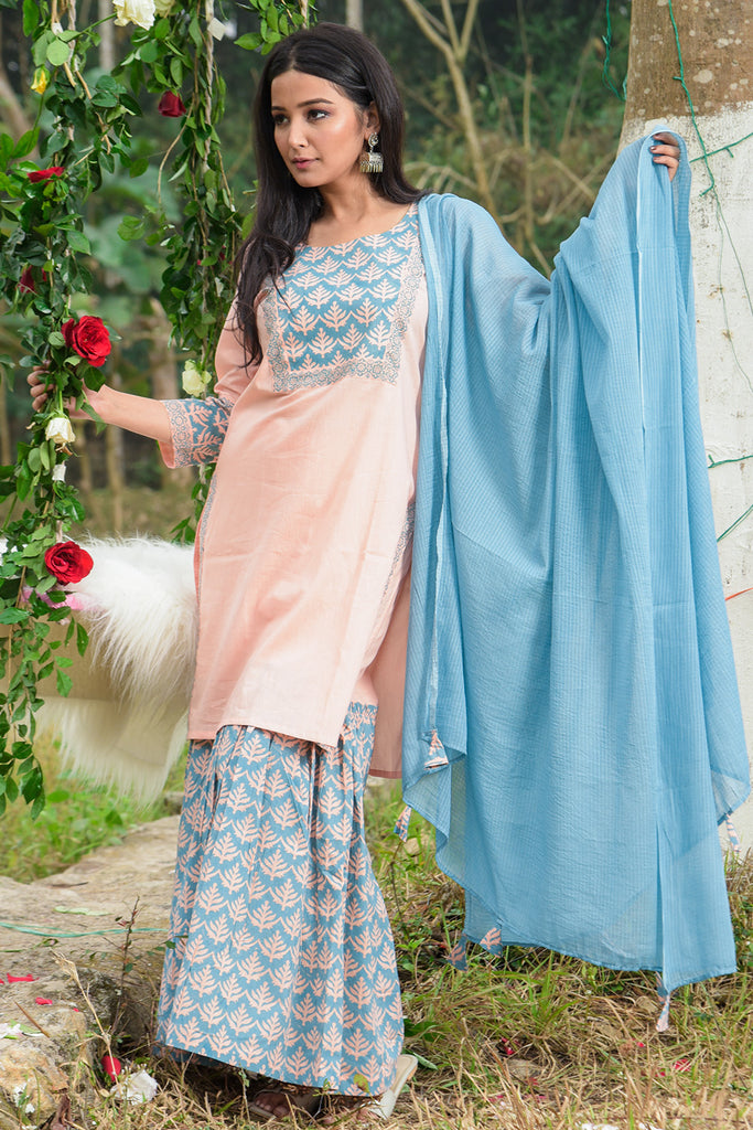 Hand Block Peach Cambric Kurta Sharara With Kota Dupatta Set