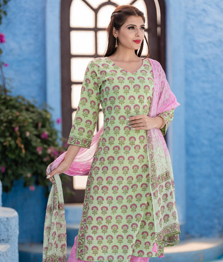 Hand Block Green Cotton Kurta Pant With Chiffon Dupatta Set
