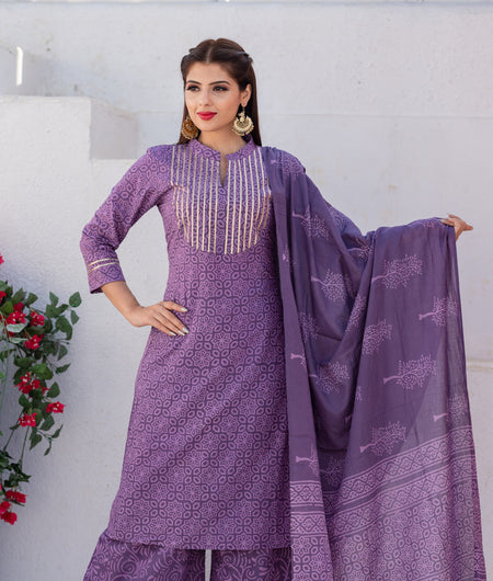 Hand Block Purple Cotton Kurta Palazzo With Mal Mal Dupatta Set