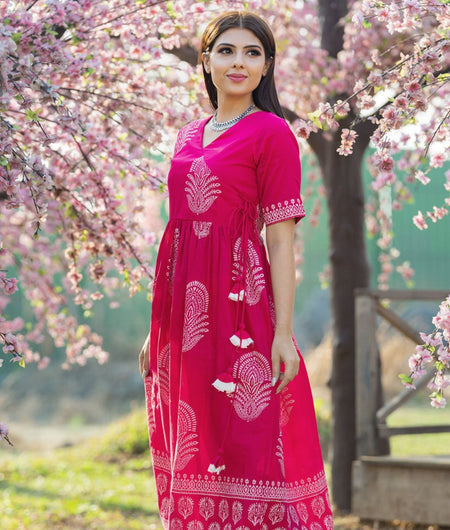 Hand Block Fushia Pink Cotton Angrakha flared kurta with pants