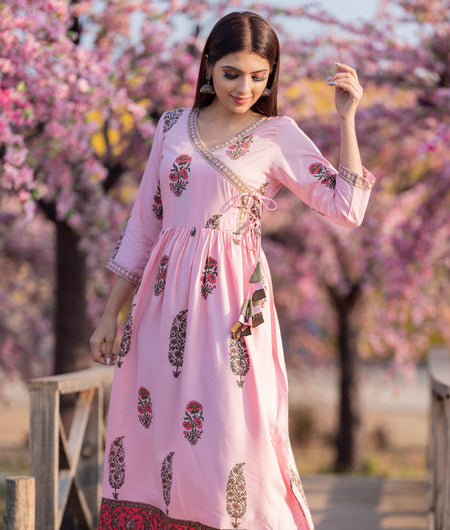 Hand Block Baby Pink Rayon Angarakha Style Long kurta Dress With Tassel Tieups