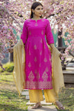 Hand Block Pink Cotton Kurta Set With Jute Cotton Zari Dupatta