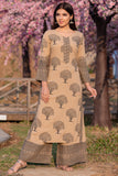 Hand Block Brown Rayon Caremel Kurta With Palazzo