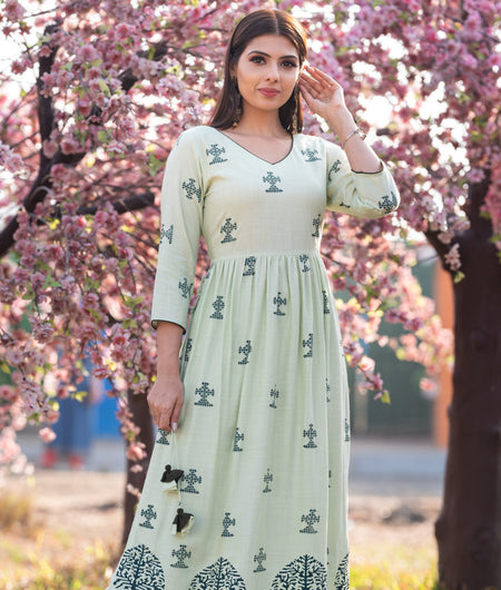 Hand Block Pista Green Rayon Tassel Tieup Kurta With Palazzo