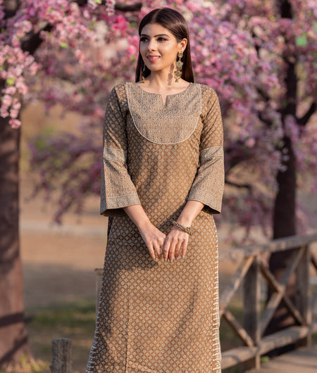 Hand Block Brown Rayon Kurta And Palazzo Set With Khadih Print